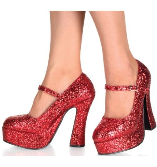 Chaussures plateforme rouge scintillantes