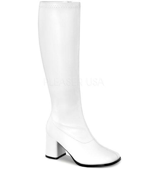Witte disco laarzen xl mat