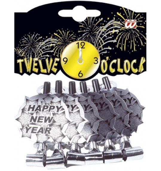 Zilveren Gelukkig Nieuwjaar toeters