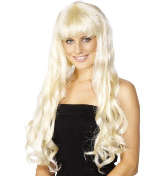 longue perruque blonde avec des boucles et frou frou Paris