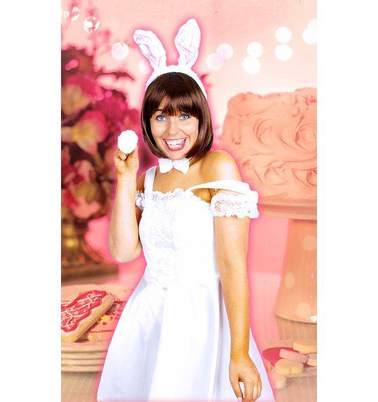 Bunny / konijn setje wit rose