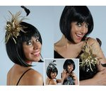Sequin Hairpin Carole Glamour with rhinestones and feathers