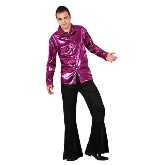 Disco costume with purple shirt for men
