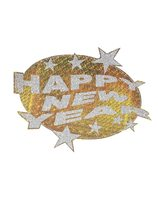 HAPPY NEW YEAR HOLOGRAPHIC & GLITTER DECORATION WI-8071Z